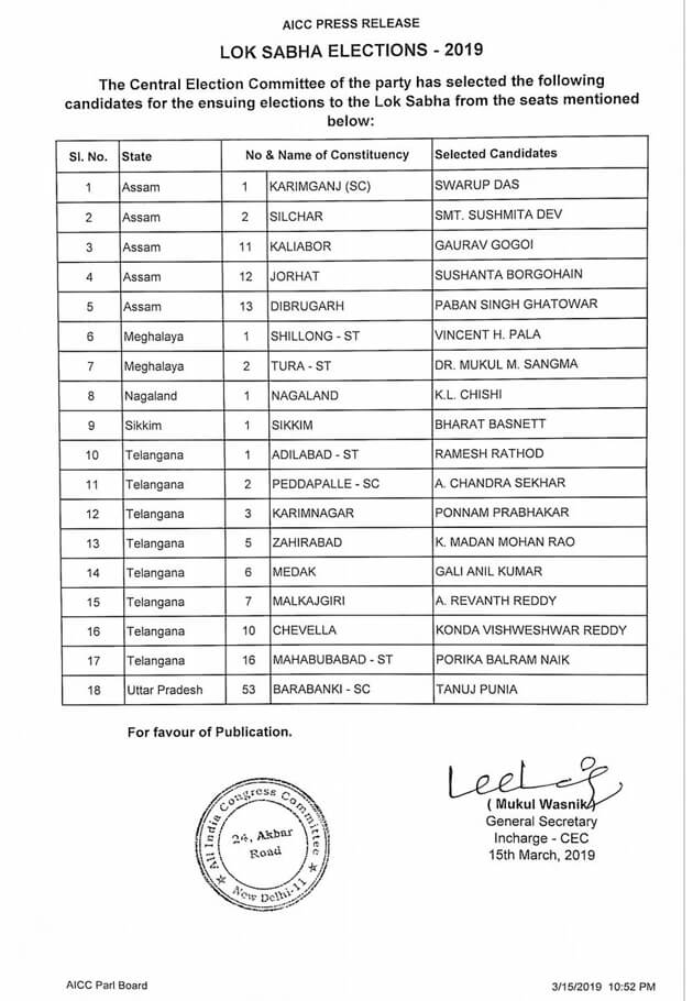 Lok Sabha Election 2019 Candidates Voting List, freshnew.in